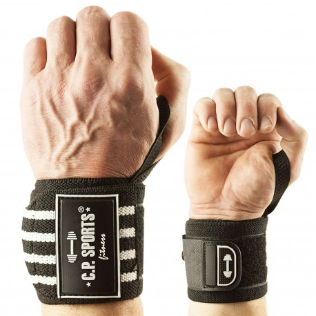 C.P. Strongman-Handgelenkbandagen 50cm - weiß